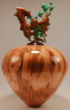 Ambrosia Maple vessel with Splash Copper finial