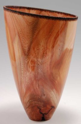 Japanese Elm (Zelkova) vase with cut and burned edge