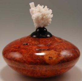 Cherry burl vessel with aluminum powder epoxy inlay and Aragonite mineral on top