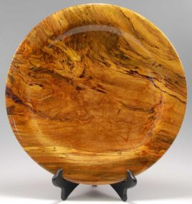 Spalted Silver Maple platter lightly dyed yellow