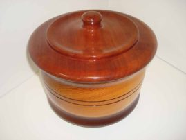 Cedar Canister with Mahogany Lid and Base