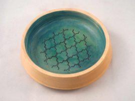 Shallow poplar bowl with ink transfer and pigment
