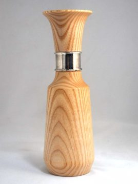 Ash vase with silver plating