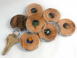 Maple, acrylic and marblewood keyrings